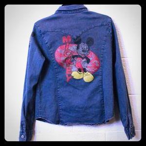 Vintage Mickey Mouse Denim Jacket-Size Large